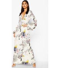 bloemenprint maxi mimi jurk met v-hals en franjemouwen, white