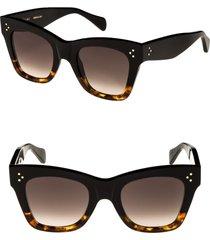 celine 50mm gradient butterfly sunglasses in black/havana at nordstrom