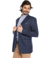 blazer azul claro preppy con detalle en solapa y bolsillo pecho