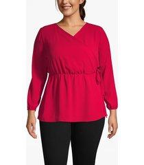 lane bryant women's faux-wrap blouse 26 crimson