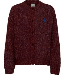 chunky knitted cardigan stickad tröja cardigan röd bobo choses