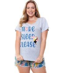 pijama short doll plus size tropical feminino luna cuore
