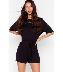 womens in one go belted relaxed romper - black