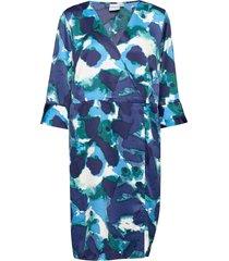 jralinea 3/4 sleeve abk dress - k knälång klänning blå junarose
