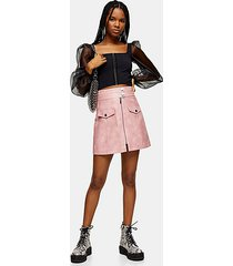 pink zip through pu mini skirt - pink