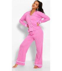 jersey pyjama set met broek en knopen, snoeproze
