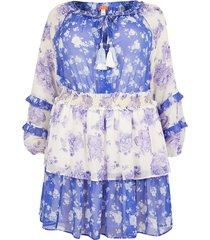 river island womens plus blue floral smock beach dress