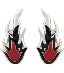 ambush flame sculpted earrings - silver