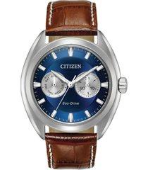 citizen men's eco-drive dress brown leather strap watch 43mm bu4010-05l