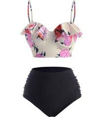 floral ruffle ruched push up tankini swimwear