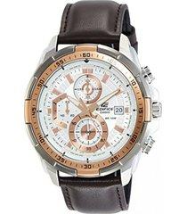 reloj casio efr_539l_7a marrón cuero