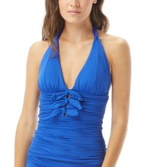carmen marc valvo ruched bow-front halter tankini top women's swimsuit