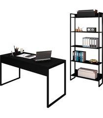 conjunto escritã³rio mesa 150 e estante studio industrial m18 preto - mpozenato - preto - dafiti