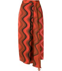 andrea marques silk wrap midi skirt - red