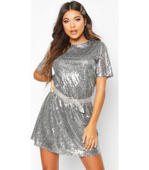 boutique t-shirt jurk met pailletten, grijs