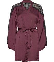 kimono satin nadia morgonrock röd hunkemöller