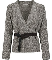 belted tie cardigan