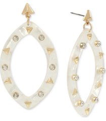 bcbgeneration gold-tone & crystal studded oval drop earrings