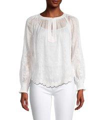 velvet women's floral linen & silk-blend blouse - white - size xs