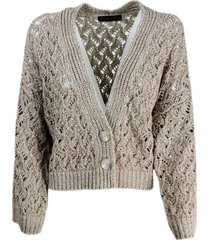 fabiana filippi over cardigan sweater with buttons with braid and gold-colored lurex