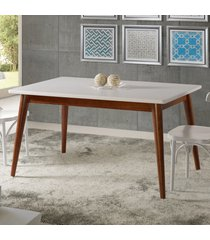 mesa de madeira retangular 140x90 cm novita 609 cacau/branco - maxima