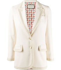 gucci braided trim single-breasted blazer - neutrals