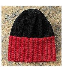 alpaca blend hat, 'bold red' (peru)