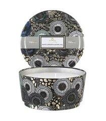 vela lata 3 pavios pedestal 60h white currants & alpine lace - prata