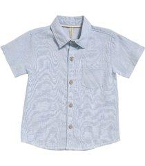 camisa en lino a rayas color azul