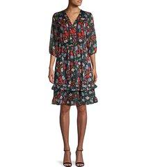 floral-print v-neck dress