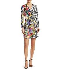 abba floral & zebra wrap dress