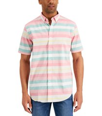 club room men's striped short sleeve shirt, created for macy's