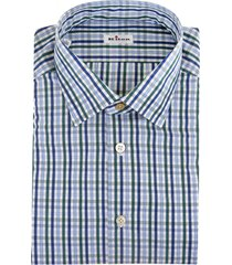 man shirt with multicolor vertical and horizontal stripes