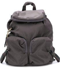 see by chloé multi-pocket logo backpack - grey