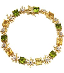 citrine and peridot (8 1/3 ct. t.w.) tennis bracelet in 18k yellow gold over sterling silver