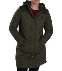 burne quilted hooded longline jacket