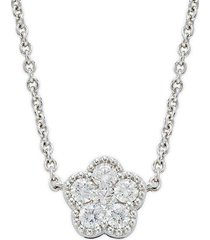 18k white gold, ruby & diamond flower necklace