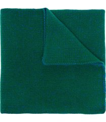 the elder statesman two-tone ribbed cashmere scarf - green