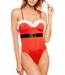 women's i'm yours one piece microfiber santa teddy with marabou trim and belt