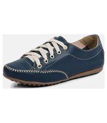 tênis sapatênis torani casual couro azul
