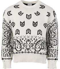 cashmere-blend lounge sweater, white and black