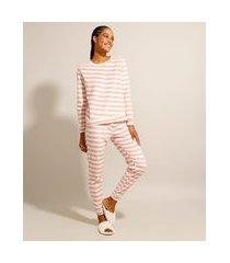 pijama manga longa de fleece listrado rosa