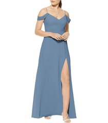 women's #levkoff cold shoulder a-line chiffon gown, size 8 - grey
