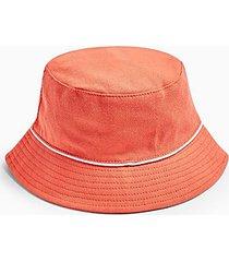 piped bucket hat in orange - orange