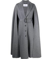 salvatore ferragamo cape-detail belted coat - grey