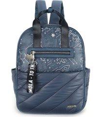 mochila maternal azul chimola space dogs