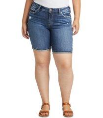 silver jeans co. plus size suki curvy-fit jean shorts