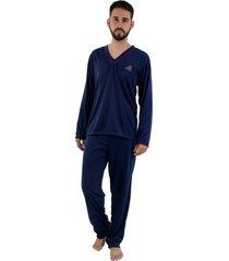 pijama linha noite longo azul marinho