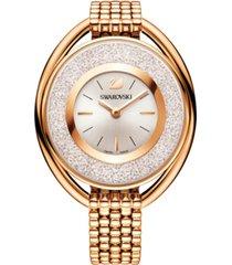 swarovski women's swiss crystalline rose gold-tone stainless steel watch 43mm
