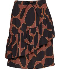 skirt in lava print w. tie band at kort kjol brun coster copenhagen